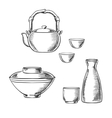 Japanese ceramic tableware sketch icons vector image vector image