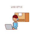 logistic worker cartoon working laptop and vector image vector image