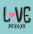 love xoxoxo word and heart vector image vector image