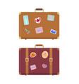 luggage travel bags with stickers icons set vector image vector image