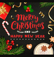 merry christmas and new year wishing card vector image vector image