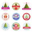 merry christmas labels winter holiday vector image vector image