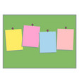 multicolored paper notes for text on green board vector image