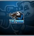 panda snaiper esport mascot logo vector image