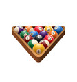 pool billiards balls in triangle game icon vector image