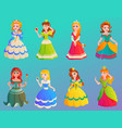 princess character cute adorble girls different vector image vector image