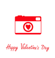 Red and white photo camera with heart Valentines vector image vector image