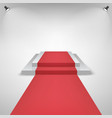 red carpet on a stage podium for award with lights vector image vector image