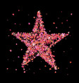 red star of many small pink hearts vector image