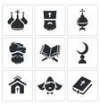 Religion confessions Icon set vector image