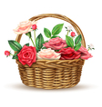 Roses Flowers Wicker Basket Realistic Image vector image vector image
