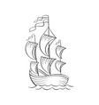 sailboat black ink sketch vector image vector image
