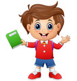 school boy holding a book vector image
