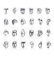 set hand drawn doodle ink faces vector image