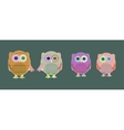 set of cute textile owls vector image vector image