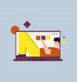 smiling man lying inside laptop screen fills vector image vector image