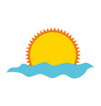 summer sun with sea isolated icon vector image vector image