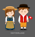 swiss in national dress with a flag vector image vector image