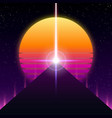 synthwave retro design pyramid ray and sun vector image vector image