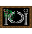 The Greek columns and wreath