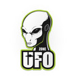 the head of the alien and the zone of ufo vector image vector image