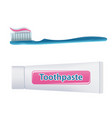 toothbrush with toothpaste and tube isolated on vector image