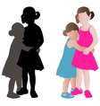 two adorable little girls vector image vector image