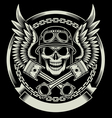 Vintage Biker Skull with Wings and Pistons Emblem vector image