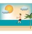 wakeboarding man extreme sport beach vector image
