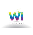 wi w i colorful letter origami triangles design vector image vector image