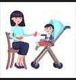 mother feeds baby boy who sits on toddler carriage vector image