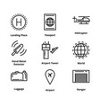 9 airport line icons vector image vector image