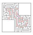 a square labyrinth simple flat isolated on white vector image