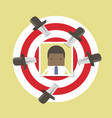 african businessman photo on target with knives vector image