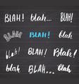blah blah words hand written set on chalkboard vector image