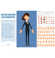 cartoon flat funny business woman character set vector image