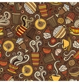 Cartoon hand-drawn coffee shop seamless pattern vector image vector image