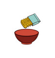 cooking pasta - instant noodle and empty bowl vector image