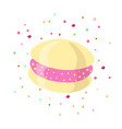 cute cartoon sweet bun icon with strawberry vector image vector image