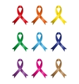 Different kins of awareness ribbons vector image