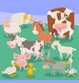 farm animal characters cartoon vector image