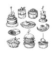 finger food drawings food appetizer and vector image
