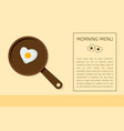 fried egg on pan vector image vector image