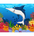 funny shark saws cartoon with beauty sea life vector image vector image