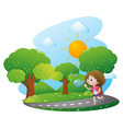 girl blowing bubbles in the park vector image vector image