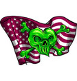 gold skull and flag usa vector image vector image