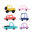 hand drawn funny motor cars collection isolated vector image