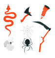 happy halloween - colorful set of isolated objects vector image