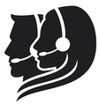 headset symbol - center icon vector image