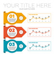 infographics elements 3 steps and line charts vector image